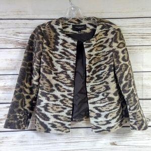 Ann Taylor Wool Open Front Leopard Print Blazer XS